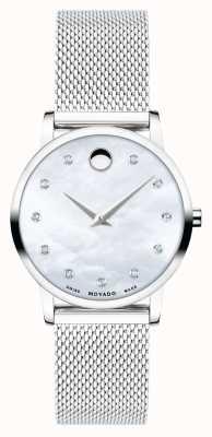 Movado Museum klassiek | zilveren mesh armband | parelmoer wijzerplaat 0607491