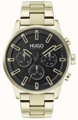 HUGO #seek | gouden roestvrijstalen armband | zwarte wijzerplaat | 1530152