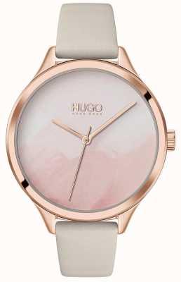 HUGO #smash | roze blush wijzerplaat | crème lederen band 1540059
