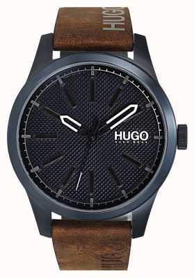 HUGO #uitvinden | blauwe wijzerplaat | bruine leren band 1530145