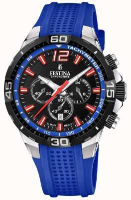 Festina Chrono bike 2020 zwarte wijzerplaat blauwe band F20523/1