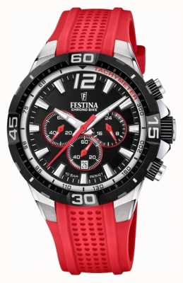 Festina Chrono bike 2020 zwarte wijzerplaat rode band F20523/7