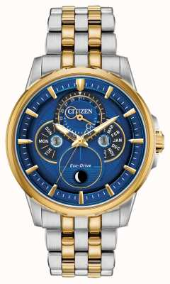 Citizen Heren | eco-drive | maanfase | horloge met blauwe wijzerplaat BU0054-52L