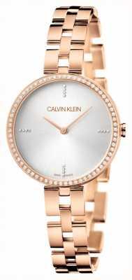 Calvin Klein Elegantie | roségouden pvd armband | zilveren wijzerplaat KBF23146