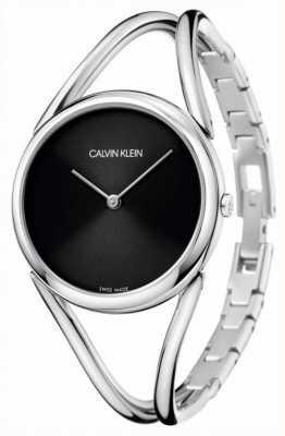 Calvin Klein Dame | roestvrij stalen armband | zwarte wijzerplaat KBA23121