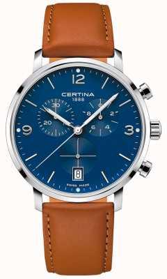 Certina Heren | ds caimano | chronograaf | blauwe wijzerplaat | bruin leer C0354171604700