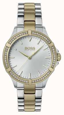 BOSS | minisport voor dames | tweekleurige stalen armband | zilveren wijzerplaat 1502467