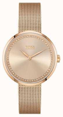 BOSS | lof voor vrouwen | roségouden stalen armband roze wijzerplaat 1502548
