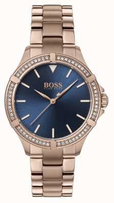 BOSS | minisport voor dames | rosé gouden armband | blauwe wijzerplaat 1502468