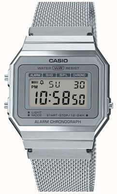 Casio | vintage | stalen mesh armband | stopwatch | led-achtergrondverlichting A700WEM-7AEF