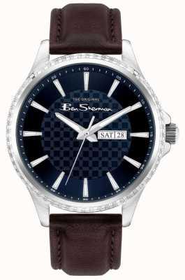 Ben Sherman | bruine leren herenband | blauwe wijzerplaat BS029BR
