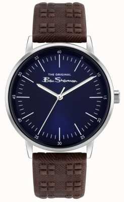 Ben Sherman | Bruine leren herenriem met ruitjesprint blauwe wijzerplaat BS031BR