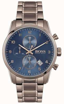 BOSS skymaster voor heren | bruine ion-plated armband | blauwe wijzerplaat 1513788