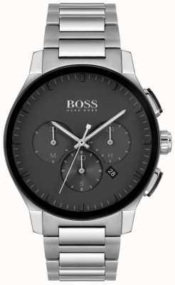 BOSS herenpiek | roestvrijstalen armband | zwarte wijzerplaat | 1513762