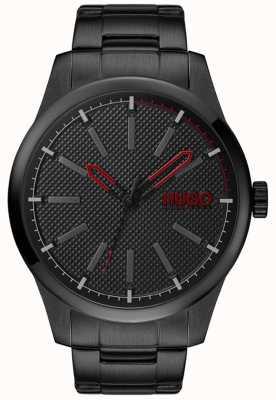 HUGO #uitvinden | zwarte stalen armband | zwarte wijzerplaat 1530148