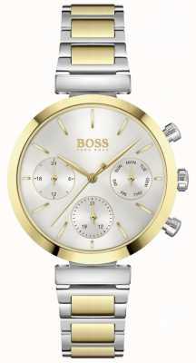 BOSS Onberispelijk | dames tweekleurige stalen armband | zilveren wijzerplaat 1502550