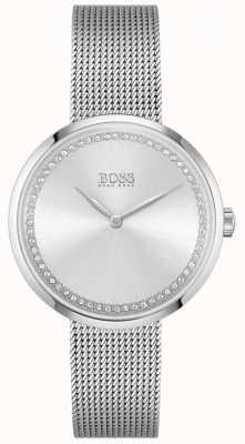 BOSS Lof | stalen armband voor dames | zilveren kristallen wijzerplaat 1502546