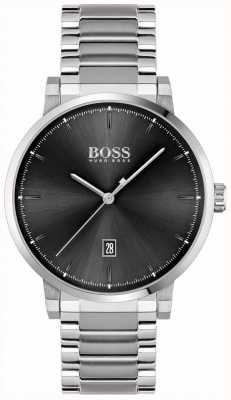 BOSS vertrouwen van mannen | roestvrijstalen armband | zwarte wijzerplaat 1513792