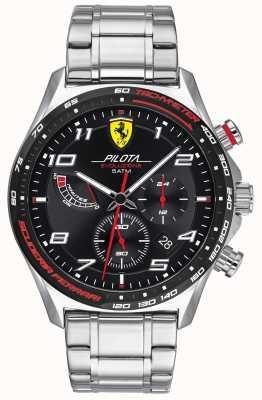 Scuderia Ferrari | Pilota Evo | roestvrijstalen armband | zwarte wijzerplaat 0830720