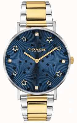 Coach | perry voor vrouwen | tweekleurige stalen armband | blauwe ster wijzerplaat 14503523
