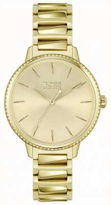 BOSS | handtekening van de vrouw | vergulde stalen armband | gouden wijzerplaat 1502541