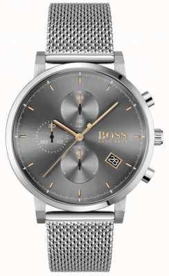 BOSS | integriteit van mannen | stalen mesh armband | grijs / zwarte wijzerplaat 1513807