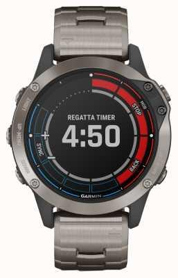 Garmin Quatix 6 saffier | titanium grijze band gps marine horloge 010-02158-95
