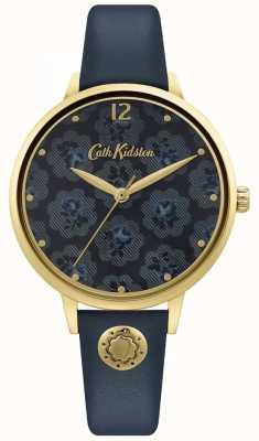 Cath Kidston | marineblauwe leren damesriem | bloemen wijzerplaat CKL093UG