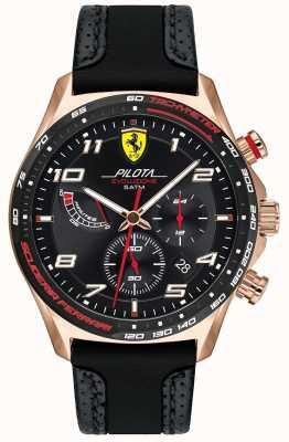 Scuderia Ferrari | Pilota voor heren | zwart leer / siliconen band | zwarte wijzerplaat 0830719