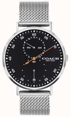 Coach | Charles voor heren stalen mesh armband | zwarte wijzerplaat 14602477