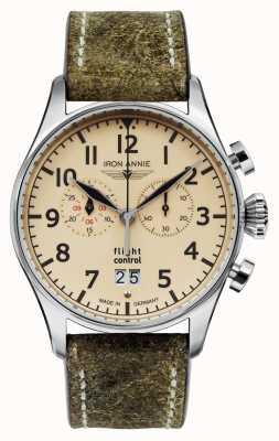 Iron Annie Flight control quartz | olijfgroene band | beige wijzerplaat 5186-5