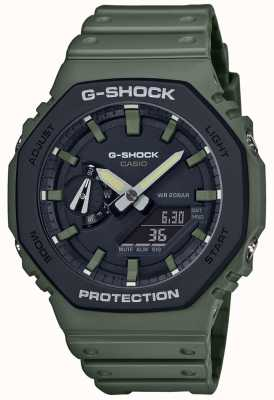 Casio G-schok | koolstof kern | groene rubberen band | digitaal beeld GA-2110SU-3AER