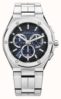 Michel Herbelin | herenpet camarat | roestvrijstalen armband | blauwe wijzerplaat 37645/B15