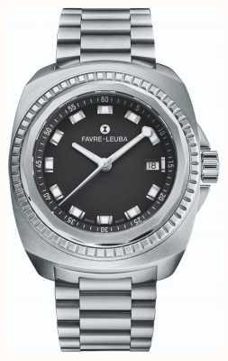 Favre Leuba Raider zeekoning | roestvrijstalen armband | zwarte wijzerplaat | 00.10107.08.11.20
