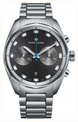 Favre Leuba Sky chief chronograaf | roestvrijstalen armband | zwarte wijzerplaat 00.10202.08.11.20