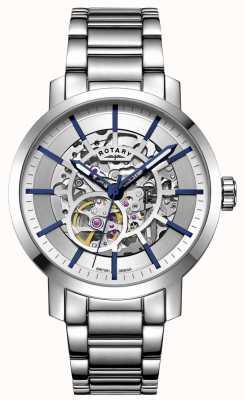 Rotary Greenwich automaat | roestvrijstalen armband | zilveren wijzerplaat GB05350/06