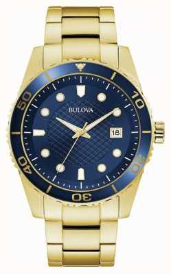 Bulova Sport | gouden roestvrijstalen armband | blauwe wijzerplaat 98A197