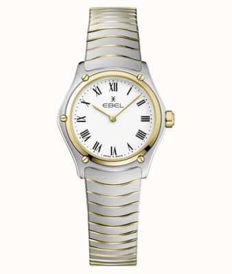 EBEL Dames sport klassieke 24 mm witte tweekleurige wijzerplaat armband roestvrij 1216384A