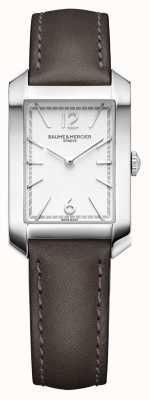 Baume & Mercier Lady Hampton | opaline zilveren wijzerplaat | zoethout lederen band M0A10471