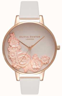 Olivia Burton Roze wijzerplaten | blush leren riem | bloemen wijzerplaat OB16FS85