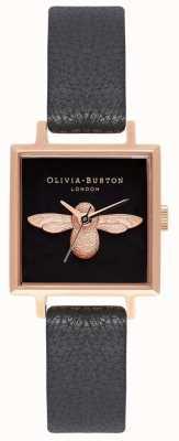 Olivia Burton 3d bij | zwarte leren band | zwarte vierkante bijen wijzerplaat OB16AM128
