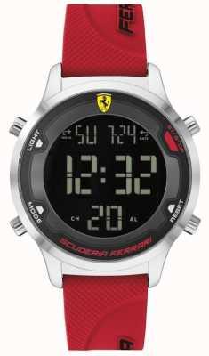 Scuderia Ferrari Digitrack voor heren | rode rubberen band | zwarte digitale wijzerplaat 0830757
