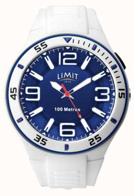 Limit Unisex | witte rubberen band | blauwe wijzerplaat 5763.65