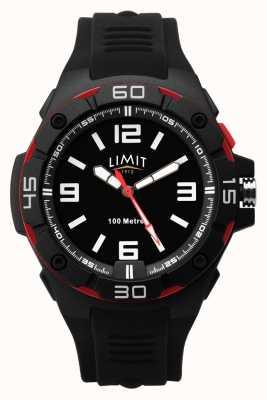 Limit | zwarte rubberen band voor heren | zwarte wijzerplaat | rood / zwarte bezel 5789.65