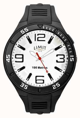Limit Zwarte rubberen herenband | witte wijzerplaat 5796.65