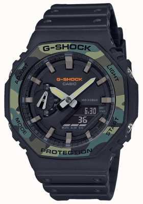Casio G-schok | gelaagde bezel | zwarte rubberen band | carbon koffer GA-2100SU-1AER