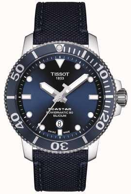 Tissot Seastar 1000 powermatic | blauwe stoffen band | blauwe wijzerplaat T1204071704101