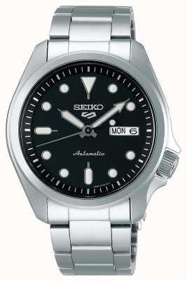 Seiko Automatisch herenhorloge met 5 sporten | zwarte wijzerplaat SRPE55K1