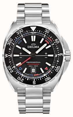 Delma Oceanmaster quartz | roestvrijstalen armband | zwarte wijzerplaat 41701.676.6.038