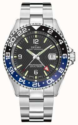 Delma Kwarts GMT | tweekleurige bezel | roestvrijstalen armband | 41701.648.6.034